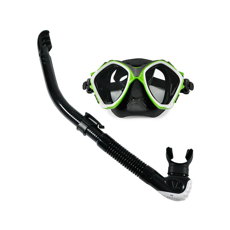 V-DIVE/威带夫浮潜三宝  潜水面镜  呼吸管套装TC206-G 绿色