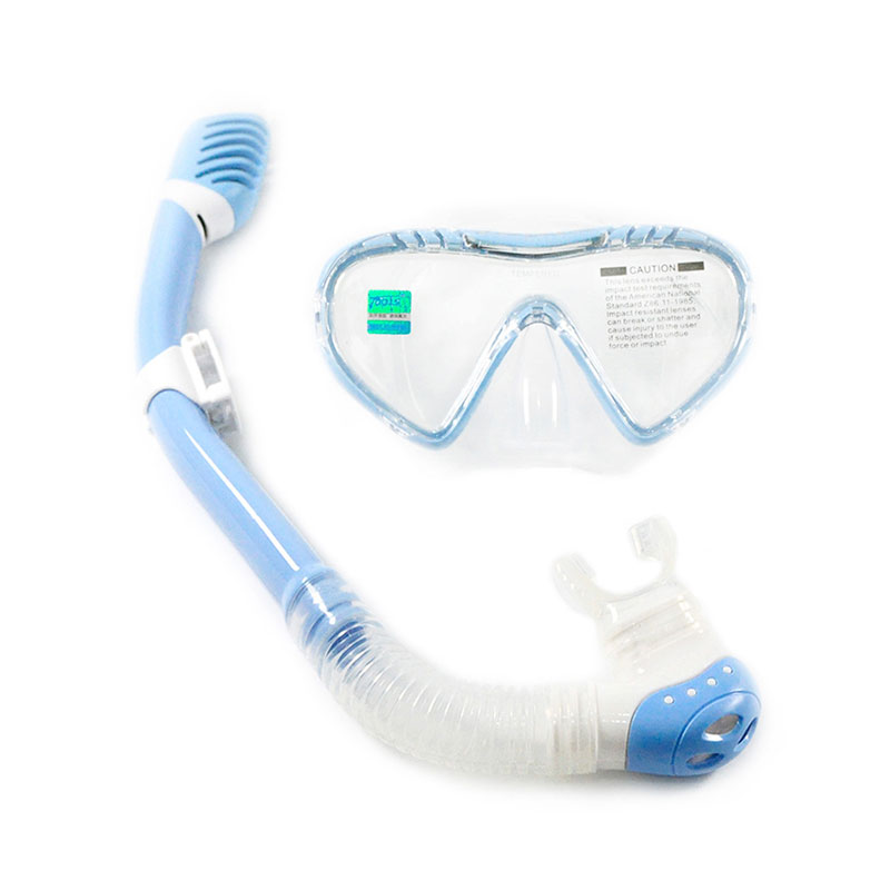 TOPIS浮潜三宝 防雾潜水镜 全干式呼吸管套装 儿童款 蓝色