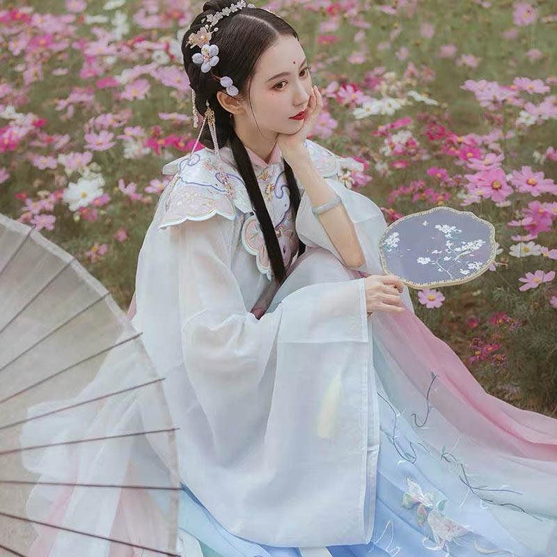【租赁】钟灵记兔月仙对襟立领广袖长衫传统汉服