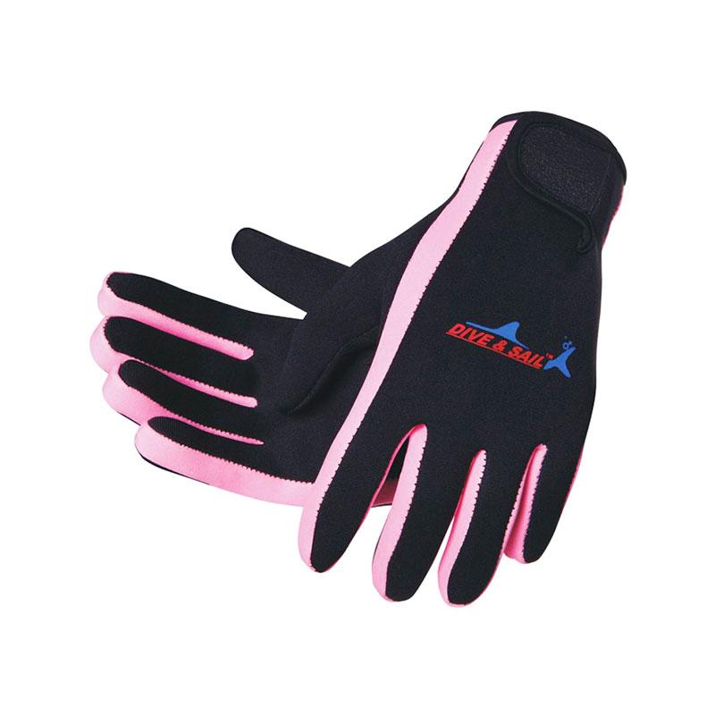 DIVE&SAIL潜水手套 防滑浮潜手套 冬泳手套 带魔术贴 薄款 粉色