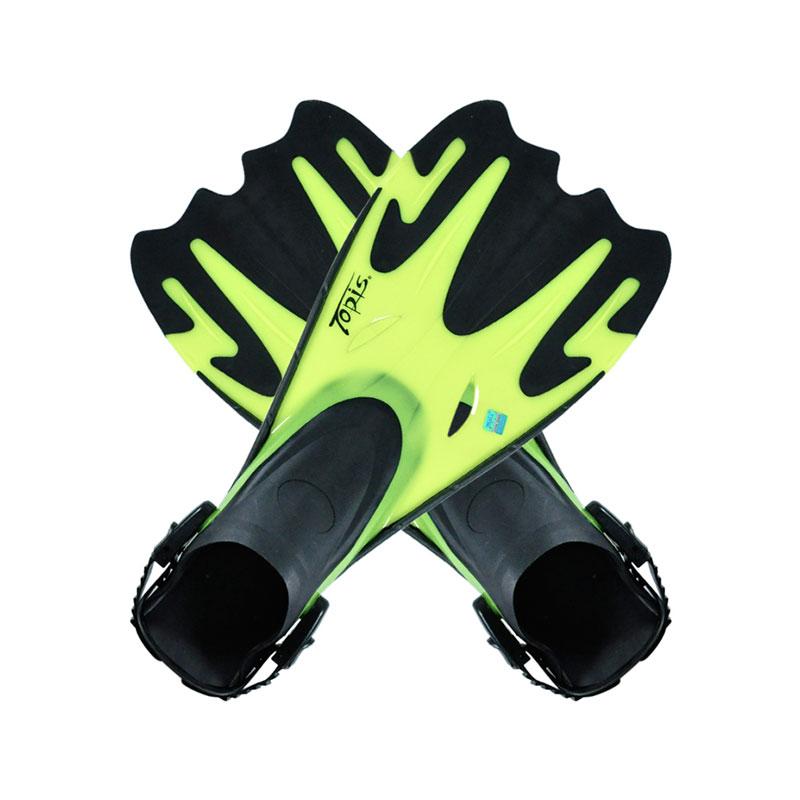 TOPIS脚蹼 潜水脚蹼 浮潜鞋 蛙鞋 可调节脚蹼  F7101 荧光黄