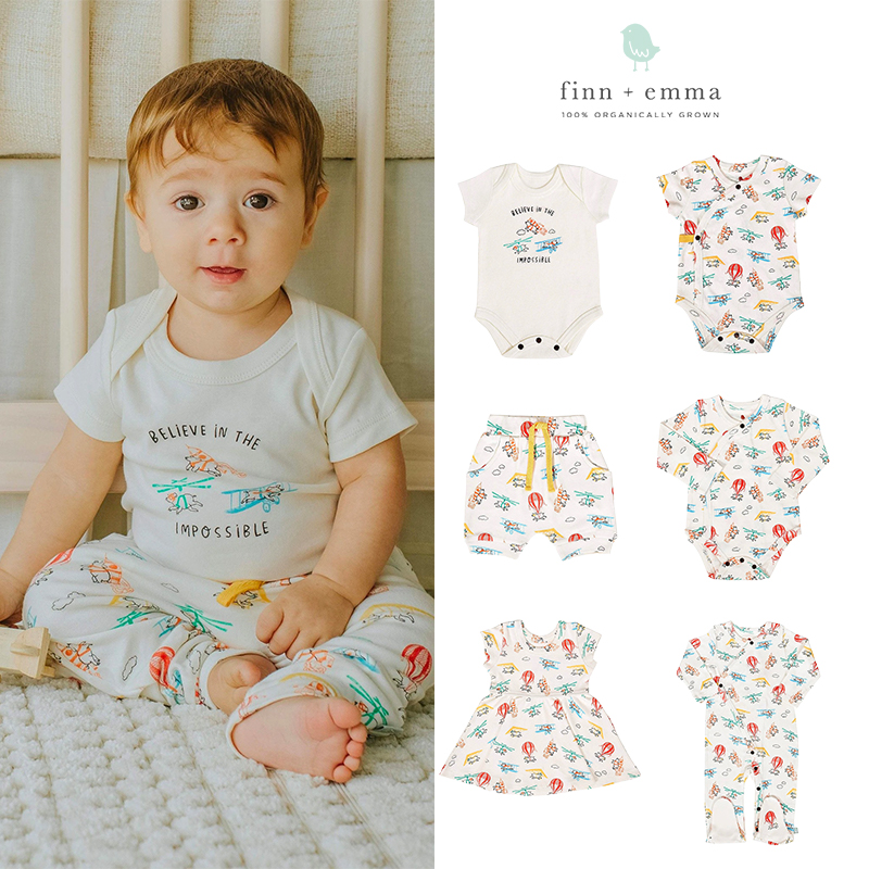 美国Finn Emma有机棉春夏新款婴儿短袖包屁衣哈衣连体衣裙子
