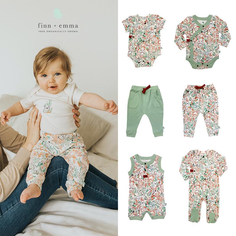 美国Finn & Emma有机棉婴儿短袖长袖包屁衣连体衣长裤