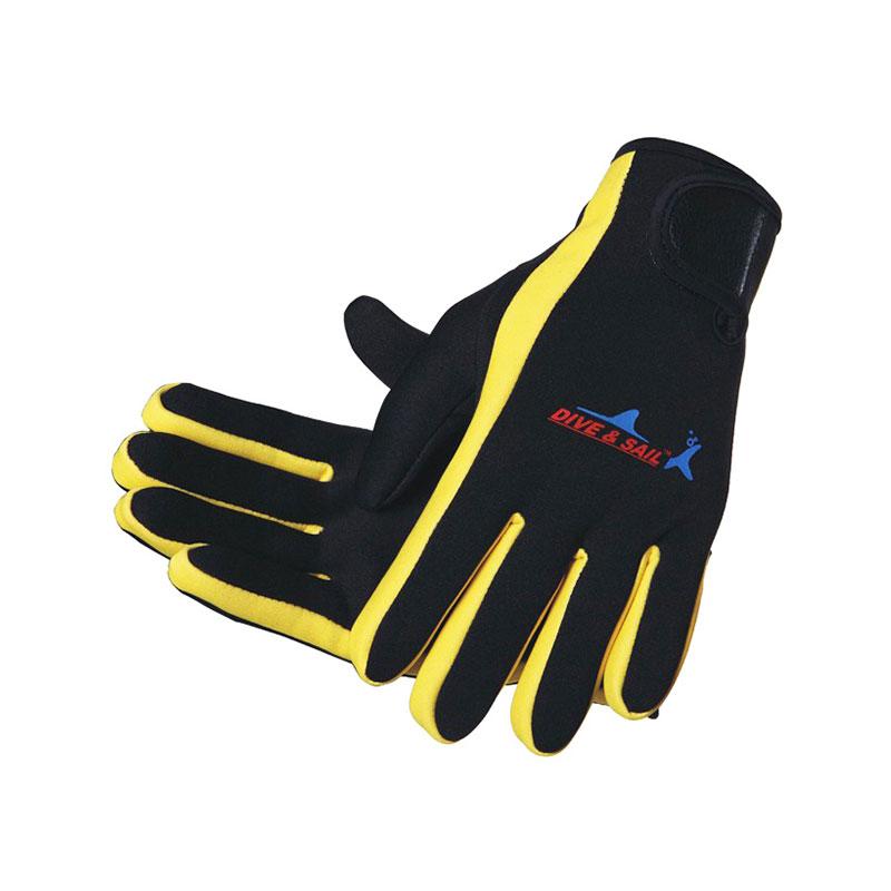 DIVE&SAIL潜水手套 防滑浮潜手套 冬泳手套 带魔术贴 薄款 黄色