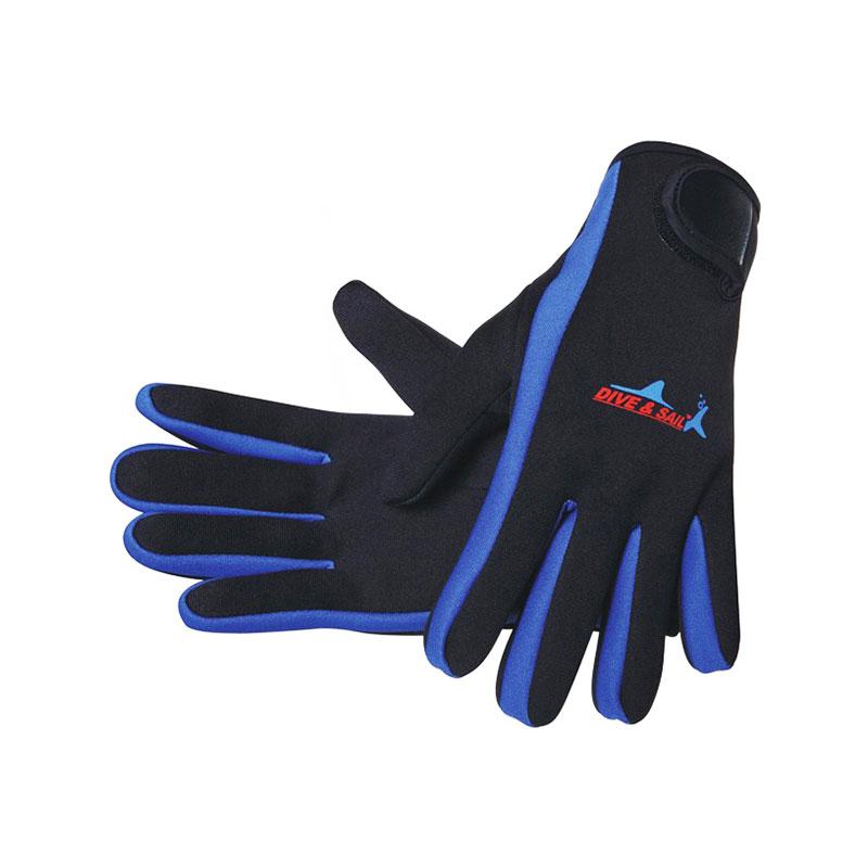 DIVE&SAIL潜水手套 防滑浮潜手套 冬泳手套 带魔术贴 薄款 蓝色
