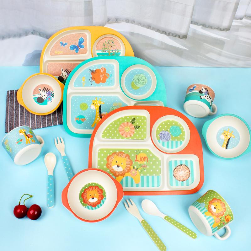 竹纤维儿童餐具分格卡通可爱餐盘婴儿宝宝吃饭辅食碗勺子餐盘套装